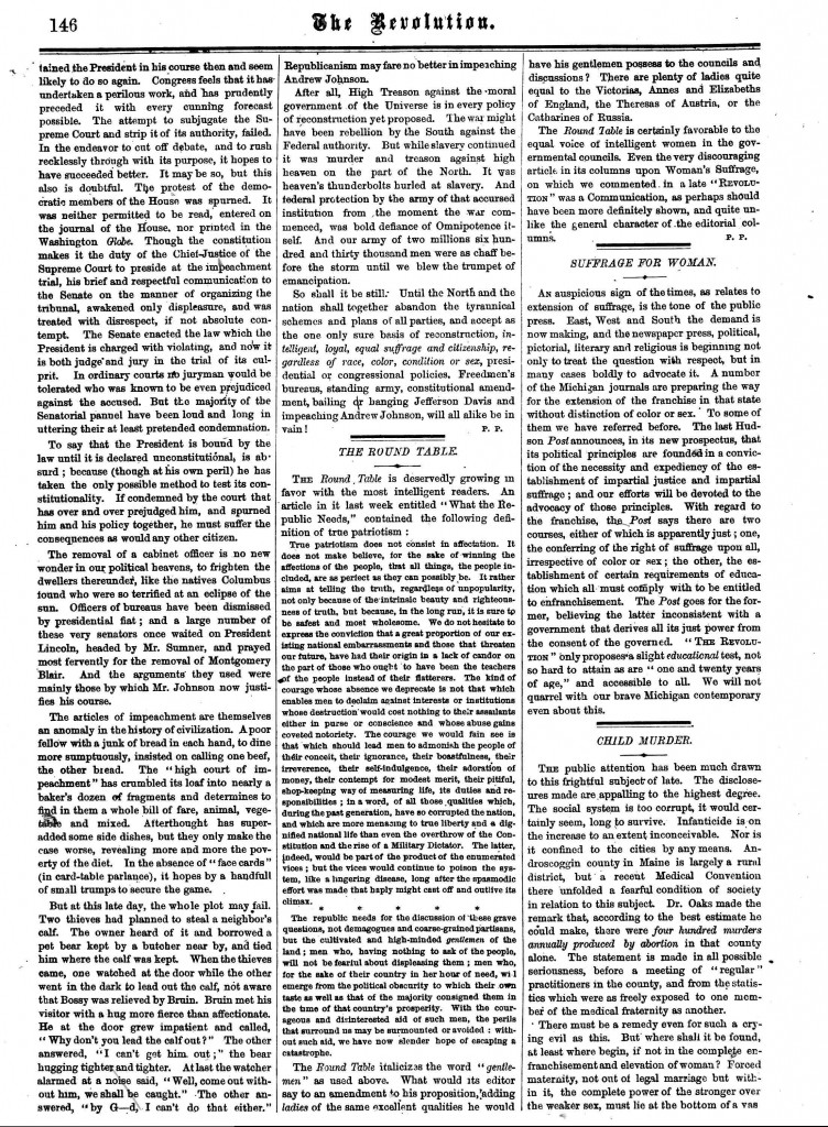 """An excerpt from Susan B. Anthony and Elizabeth Cady Stanton's """"THE REVOLUTION"""" w/ article entitled, """"Child Murder"""""""